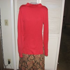 Arizona Jean Red Top with Slits on Side Large